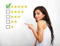 The best rating, evaluation, online rewiew. Business confident h stock image