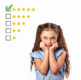 The best rating, evaluation, online rewiew. Business thinking st. Ress kid girl voting to five yellow star to increase ranking isolated on white background stock photos