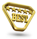 Best Rating Golden Award. 3D illustration of best rating golden award with Five Stars in the shiny golden triangle. Isolated on white background vector illustration