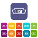 Best rectangle label icons set Royalty Free Stock Images