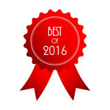 Best of 2016. Red badge with special ribbons, design royalty free illustration