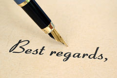 Best regards. Close up of fountain pen on best regards royalty free stock image