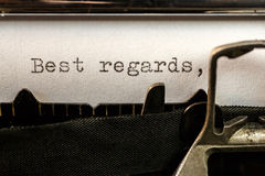 Best regards text written by old typewriter. Macro of Best regards text written by old typewriter machine royalty free stock images