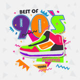 Best of 90s illistration with vintage shoes background Stock Image