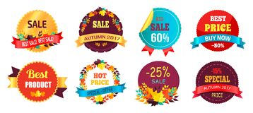 Best Sale 2017 Autumn Discount Buy Now Hot Price. Promo posters with percent signs, round advertisement labels with foliage vector isolated on white Stock Photos