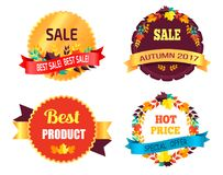 Best Sale 2017 Autumn Discount Buy Now Hot Price. Promo posters with percent signs, round advertisement labels with foliage vector isolated on white Royalty Free Stock Photos