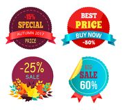 Best Sale 2017 Autumn Discount Buy Now Hot Price. Promo posters with percent signs, round advertisement labels with foliage vector isolated on white Royalty Free Stock Photography
