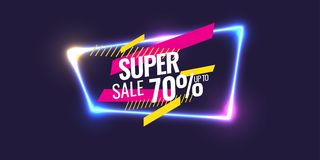 Best sale banner. Original poster for discount. Geometric shapes and neon glow against a dark background. Royalty Free Stock Image