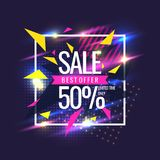 Best sale banner. Original poster for discount. Geometric shapes and neon glow against a dark background. Stock Image