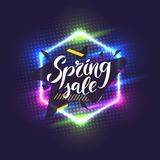 Best sale banner. Original poster for discount. Geometric shapes and neon glow against a dark background. Stock Images