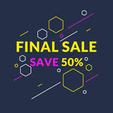 Best sale banner. Original poster for discount. Trendy abstract background. Composition of geometric shapes Royalty Free Stock Photography