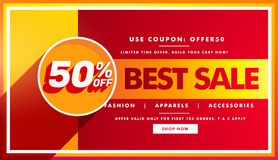 Best sale banner and sale voucher design for brand promotion Royalty Free Stock Photography