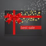 Best sale card with red silk bow and golden stars on background. Royalty Free Stock Images