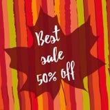Best sale 50% off. Maple leaf. Striped autumnal background. Maple leaf with best sale 50% off on striped autumnal background. Season autumn discount. Hand drawn royalty free illustration
