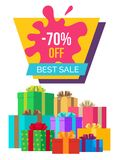 Best Sale with 70 Off Poster with Gift Boxes. Best sale with 70 off promotional poster with gift boxes tied with ribbons and bows, big sign and paint blot vector Royalty Free Stock Photos