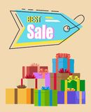 Best Sale Promotion Tag Vector Illustration. Best sale promotion tag on bright background. Vector illustration with blue sale tag with discount advertisement and Royalty Free Stock Photos