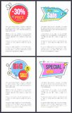 Best Sale and Special Offer on Vector Illustration. Best sale and special offer -30 off price, banners of circular shapes and stickers in form of arrows, images Stock Photo