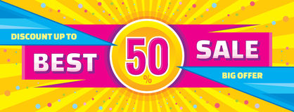 Best sale vector banner. Discount up to 50% vector banner. Stock Photos