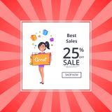 Best Sales 25 Percent Sale Shop Discount Voucher. Best sales 25 percent sale shop now discount voucher with smiling girl dreaming about boxes with presents Royalty Free Stock Image