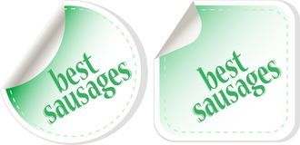 Best sausages green food stickers set Stock Photos