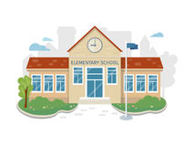 Best School Building Vector in Flat Style Design. Best school building vector illustration. Flat design. Public educational institution. Modern projects of Royalty Free Stock Photography