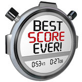 Best Score Ever Timer Stopwatch Record Breaking Performance. Best Score Ever words on a stopwatch or timer to illustrate the top speed, race, or performance of Royalty Free Stock Photo