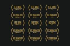 Best score movie award winner vector logo set. Movie award best original song score soundrack nomination winner vector logo icon set Royalty Free Stock Images