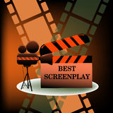 Best screenplay. Abstract colorful background with movie projector and the text best screenplay written on a clapboard. Cinema theme Stock Photos