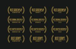 Best screenplay movie award winner vector logo set. Movie award best original adapted screenplay film script nomination winner vector icon logo set Royalty Free Stock Image