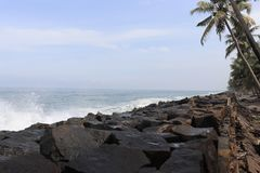 Best sea view. With coconut tress and hard rock belt Royalty Free Stock Image