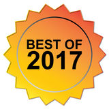 Best of 2017 seal. Orange and yellow seal with black text graphics best of 2017 royalty free illustration