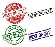 Scratched Textured BEST OF 2017 Stamp Seals. BEST OF 2017 seal prints with corroded texture. Black, green,red,blue vector rubber prints of BEST OF 2017 label vector illustration