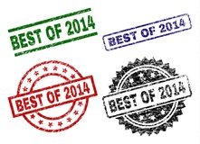 Grunge Textured BEST OF 2014 Stamp Seals. BEST OF 2014 seal prints with corroded texture. Black, green,red,blue vector rubber prints of BEST OF 2014 tag with stock illustration