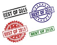 Grunge Textured BEST OF 2015 Stamp Seals. BEST OF 2015 seal prints with distress texture. Black, green,red,blue vector rubber prints of BEST OF 2015 text with Vector Illustration