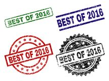 Grunge Textured BEST OF 2016 Stamp Seals. BEST OF 2016 seal stamps with corroded texture. Black, green,red,blue vector rubber prints of BEST OF 2016 title with stock illustration
