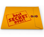Best Secret Ever Yellow Envelope Confidential Information Rumor. Best Secret Ever words stamped on a yellow envelope as great confidential information or rumors Royalty Free Stock Photography