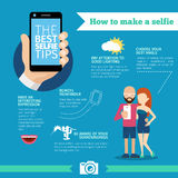The best selfie tips. How to make. Infographic and Royalty Free Stock Photo