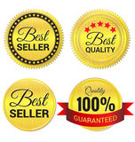 Best Seller, Best Quality and guaranteed gold Labe Royalty Free Stock Image