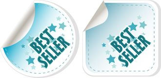Best seller blue stickers set. vector label Stock Photo