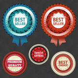 Best seller and choice labels with ribbon Stock Image