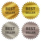 Best seller guarantee label. Best seller 3d rendered 4 color tag , golden guarantee label Royalty Free Illustration