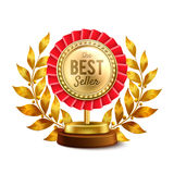 Best Seller Gold Medal Realistic Design. Best seller round gold medal and laurel wreath highest award single object realistic design vector illustration Stock Images