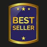 Best seller label. On black background, vector illustration royalty free illustration