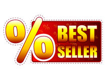 Best seller label with percentage symbol. Best seller - red and yellow label with text and percentage sign Stock Image