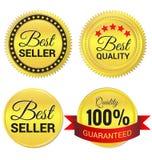 Best-seller, migliore qualità ed etichetta garantita dell'oro Immagine Stock Libera da Diritti