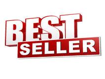Best seller red white banner - letters and block. Text best seller - 3d red white banner, letters and block, business shopping concept Stock Images