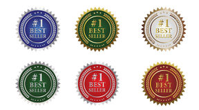 #1 Best Seller Seals. All original design, in various colors, with gold or silver background colors stock illustration