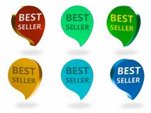 Best seller sign. Best seller 3d rendered sign , different Colors and angles Stock Photography