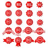Best Seller Sign Symbol - Red Bestseller Award Icon Set Stars Stickers. Certificate Emblem Vector Labels Royalty Free Stock Images