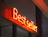 Best Seller signage Shop Retail Marketing promotion Neon type Stock Photos